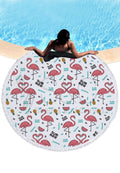 Flamingo Print Round Beach Mat