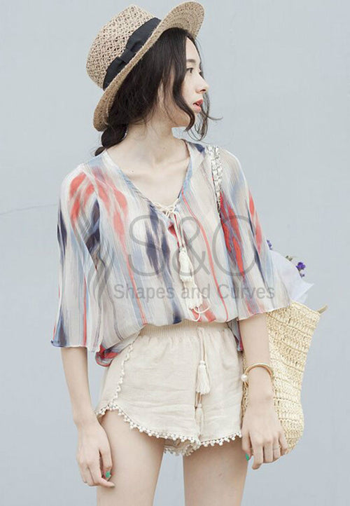 BOHEMIAN STRIPED CHIFFON TOP AND MINI POM POM SHORT SET