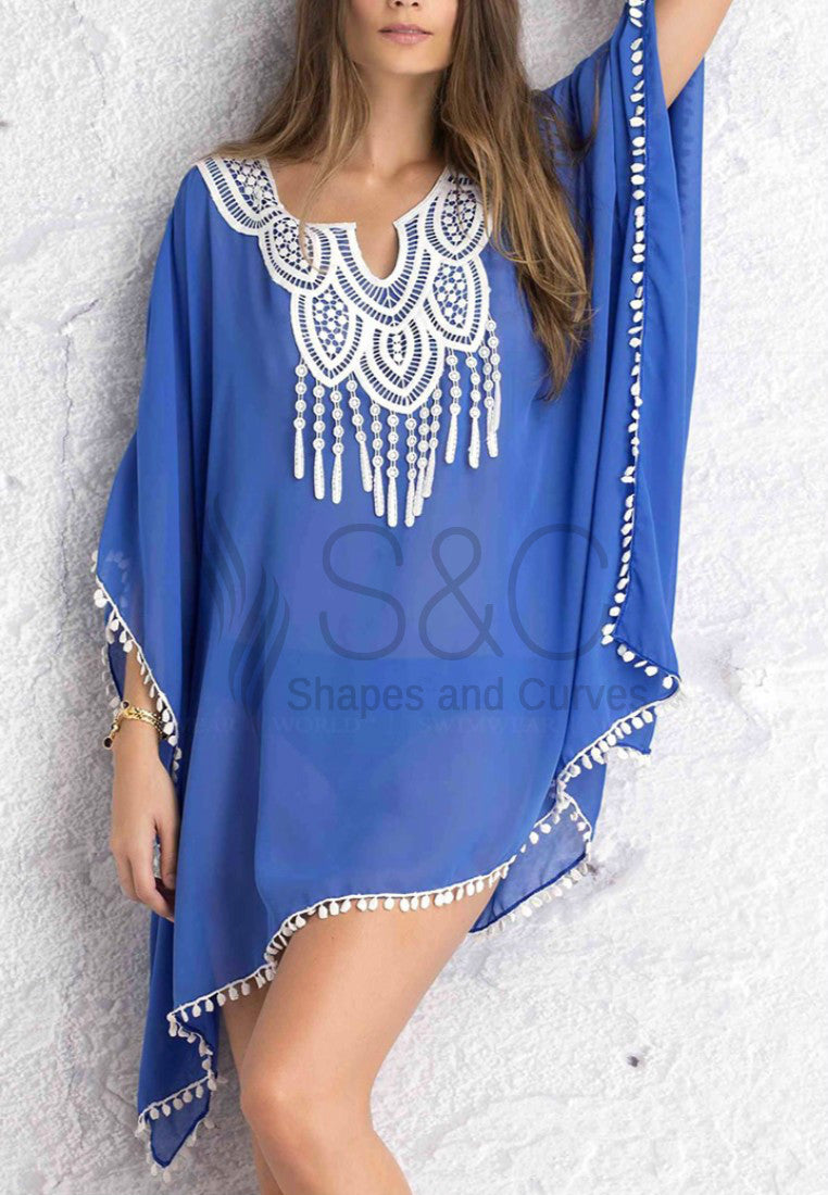 SEXY V-NECK LACE SPLICING SLEEVE COVER UP
