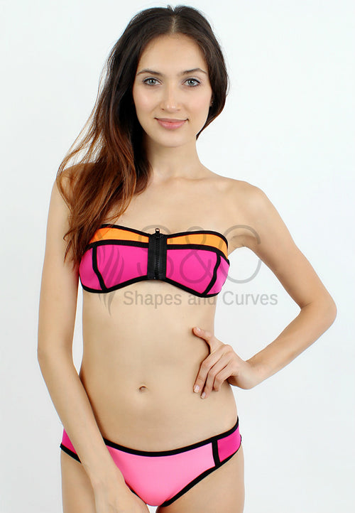 STRAPLESS COLOR BLOCK TWO PIECE NEOPRENE SWIMWEAR
