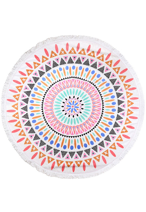 BRIGHT AZTEC ROUNDIE BEACH TOWEL