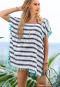 STRIPES POM-POM BEACH COVER UP