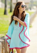 PLAIN POM-POM TRIM BEACH COVER UP