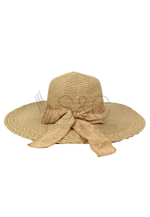 WIDE BRIMMED RIBBON SUMMER HAT