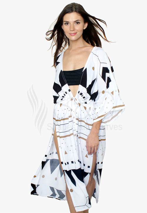 Sexy Geometric Aztec Long Kimono with Slits Beach Dress