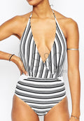 STRIPES DEEP V-NECK HALTER ONE PIECE SWIMWEAR