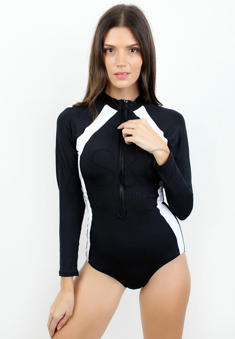 SPORTY ONE PIECE RASHGUARD WITH BIKINI TOP SWIMWEAR SET