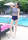 STRIPES TOP AND HIGH WAIST LINER TWO PIECE SWIMWEAR