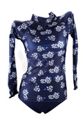 BLUE FLOWER TWO PIECE RASHGUARD LONG SLEEVE SET