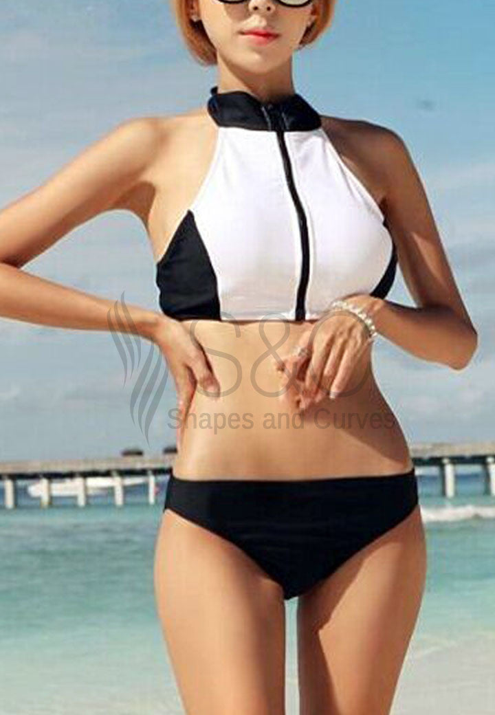 SEXY ZIP UP KEYHOLE NECKLINE TWO PIECE SWIMWEAR