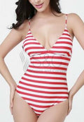 STRIPES DEEP V NECK SEXY BACK ONE PIECE SWIMSUIT