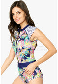 BRIGHT FLORAL SLEEVELESS ZIP UP ONE PIECE SWIMWEAR RASHGUARD