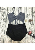 SEXY STRIPES CUT OUT ONE PIECE MONOKINI SWIMSUIT