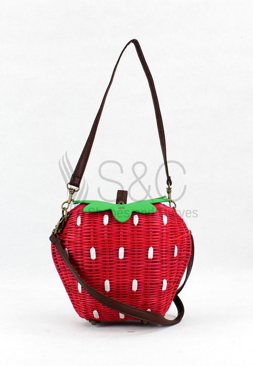 STRAWBERRY LIKE HANDMADE KNITTED ABACA SLING BAG
