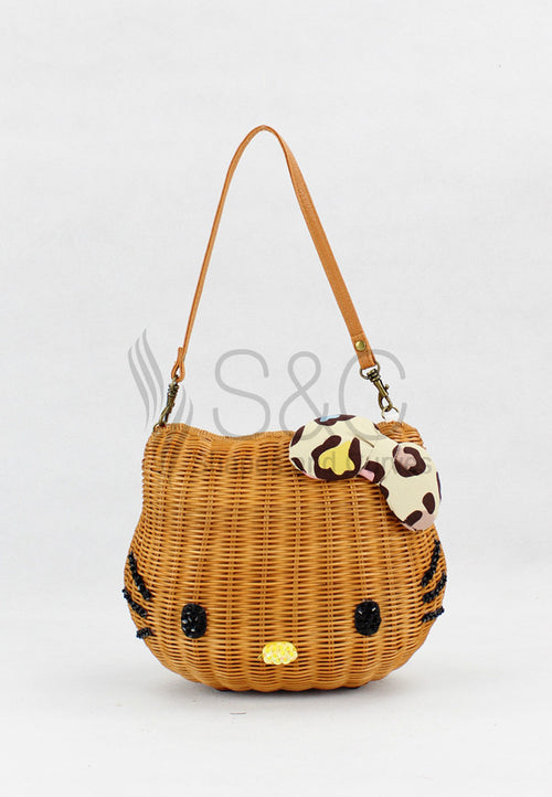 CLASSIC HELLO KITTY HANDMADE KNIT BRAIDED ABACA SHOULDER BAG