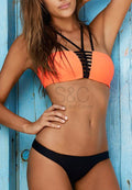 STRAPPY BANDEAU HOLLOW OUT TWO PIECE SWIMWEAR