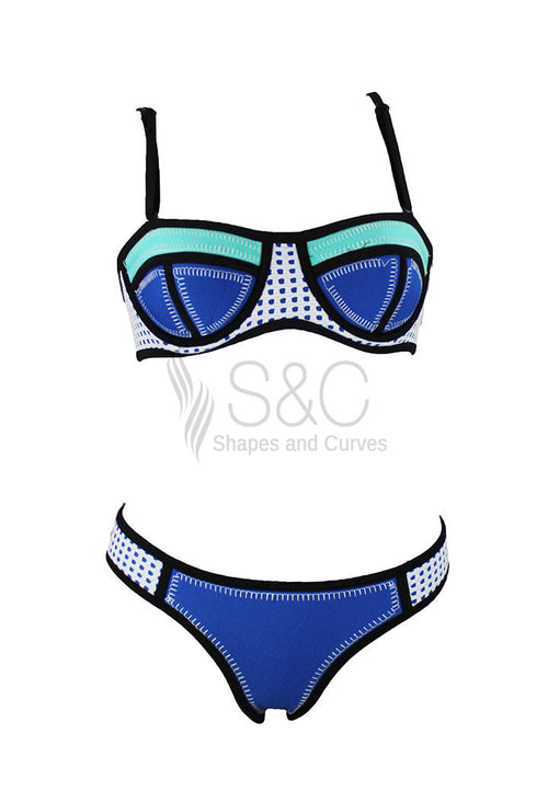 CROCHET BLOCK COLOR PUSH UP NEOPRENE TWO PIECE SWIMWEAR