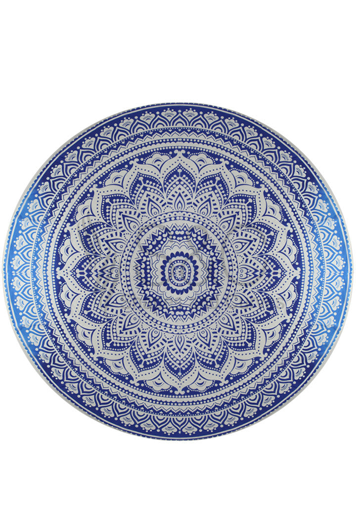 GRADIENT SHADES OF BLUE MANDALA BEACH MAT