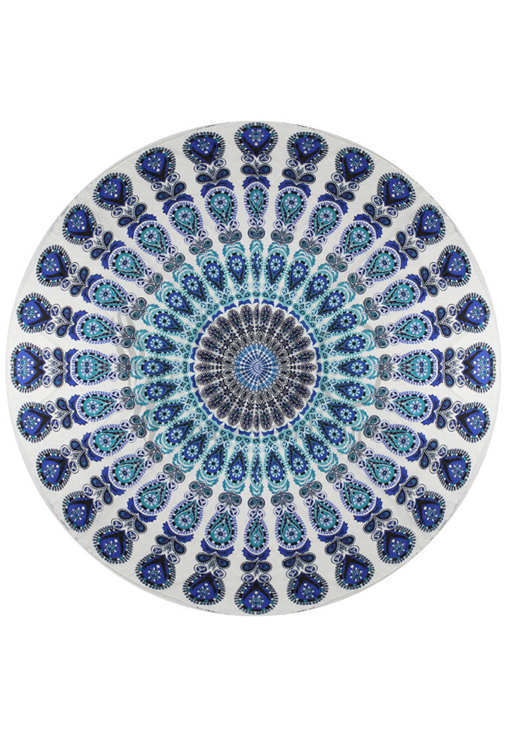 EARTH AND SKY COLORED MANDALA BEACH MAT