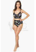 PASTEL FLORAL PRINT BLACK HIGH WAIST TWO PIECE BIKINI SWIMWEAR
