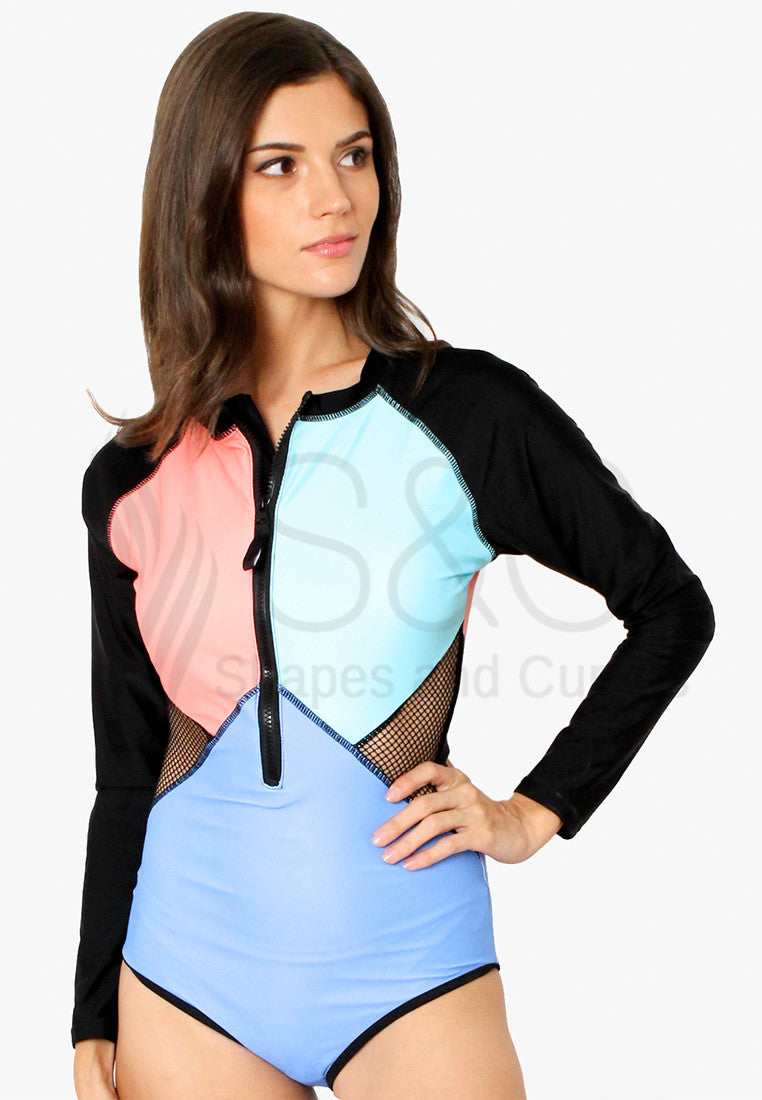 PASTEL COLOR BLOCK ZIP UP LONG SLEEVES RASHGUARD