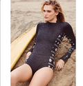 BLACK AZTEC ZIP UP LONG SLEEVES RASHGUARD ONE PIECE SWIMSUIT