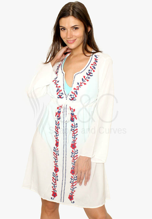 Bohemian Floral Embroidery V Neck Cover Up Beach Dress Swimwear