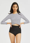 Rashguard Two Piece Swimsuit Striped  Women Rashguard