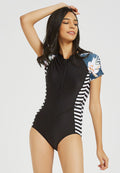 Floral Rashguard Front Zipper One Piece Swimsuit