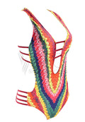MULTICOLOR RACERBACK ONE PIECE SWIMSUIT