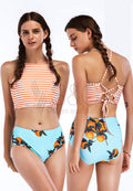 CROP TOP BIKINI FLORAL BOTTOM TWO PIECE SWIMWEAR