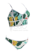 SUMMER LEAF WITH FRONT ZIPPER TWO PIECE SWIMSUIT
