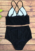 VELVET RIBBED HIGH WAIST TWO PIECE BIKINI SWIMWEAR