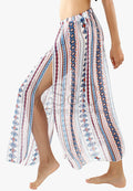 TRIBAL PRINT SPLIT SARONG COVER UP BEACH PANTS