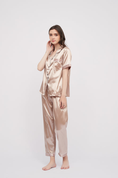 Basic Silk Pajama Long Pants Set Lounge Wear Sleepwear