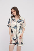 Palm Leaves Printed Silk Pajama Set Lounge Wear Sleepwear