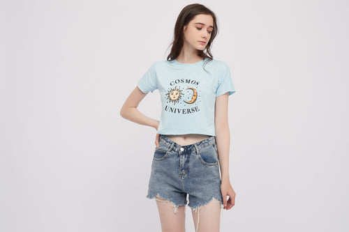 Sun and Moon Cotton Crop Top Tshirt