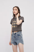 Black Floral Crop Top Cotton Tshirt