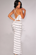 STRIPED KNOTTED CUT-OUT BACK MAXI DRESS
