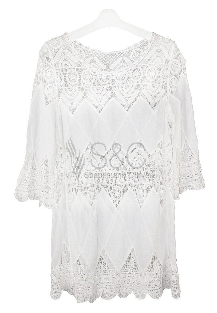 BOHEMIAN CROCHET TUNIC DRESS