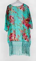 FLORAL FRINGE BEACH COVER UP