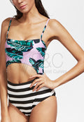 LEAF PRINT STRIPE CUT OUT TIE BACK ONE PIECE SWIMSUIT