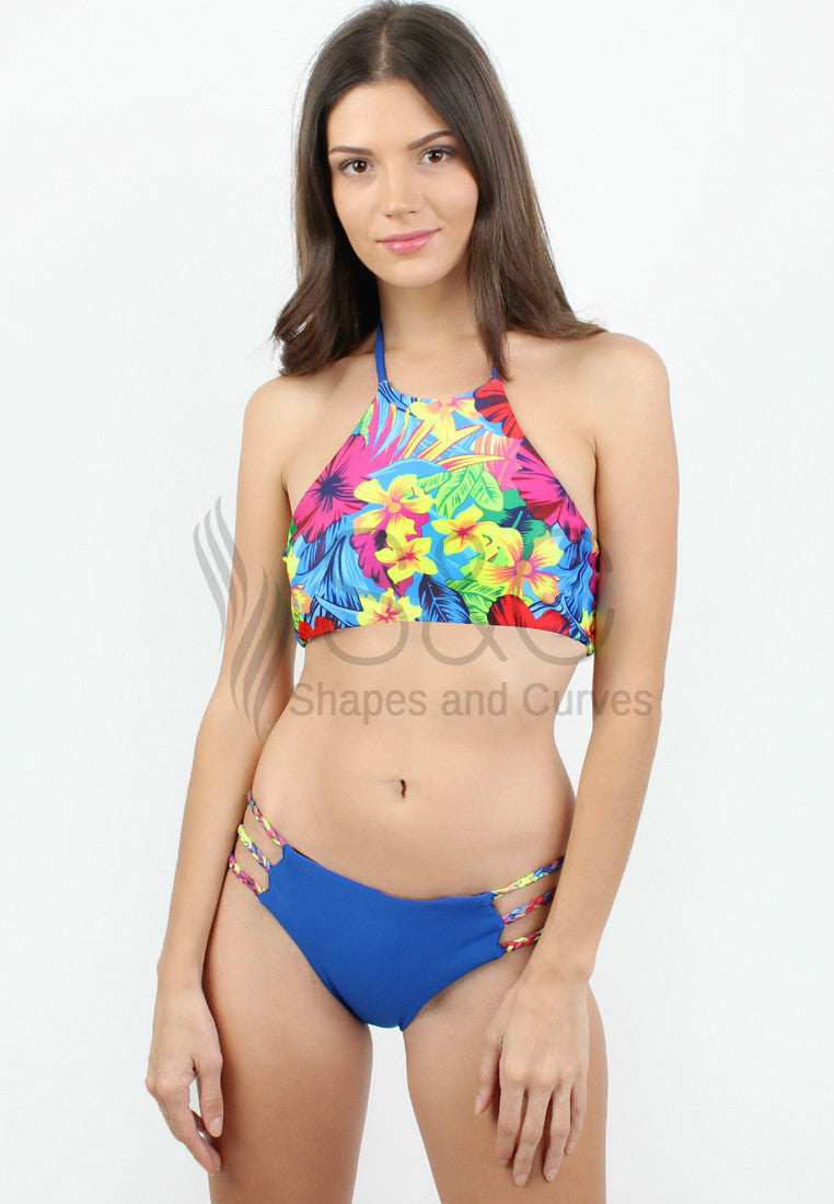 SUMMER TROPICAL HIGH NECK HALTER TWO PIECE SWIMWEAR