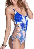 TROPICAL PRINT SIDE LACE ONE PIECE SWIMSUIT