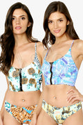 REVERSIBLE ZIP UP CRISS CROSS BACK PRINTED TWO PIECE BIKINI SWIMSUIT