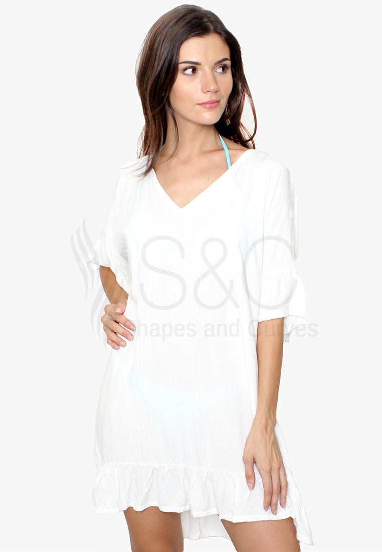 V Neck Loose Batwings Cover Up Beach Dress