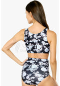 FLORAL HIGH WAIST TWO PIECE ZIP UP BIKINI SWIMWEAR