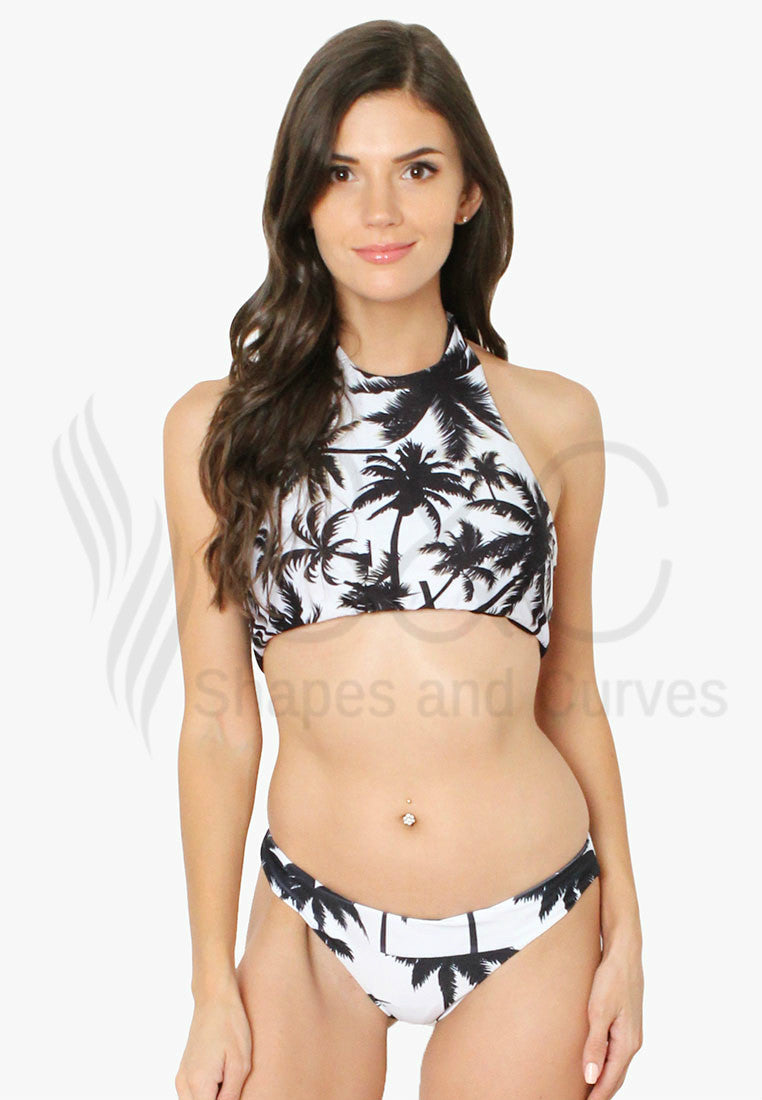 PALM TREE HIGH NECK HALTER TWO PIECE SWIMWEAR