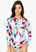 COLORFUL GEOMETRIC PRINT LONG SLEEVES RASHGUARD