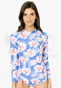 HIBISCUS FLORAL LONG SLEEVES RASHGUARD ONE PIECE SWIMWEAR